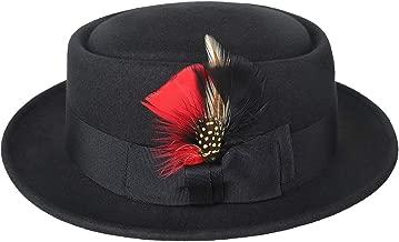 Sedancasesa Men Wool Felt Pork Pie Derby Fedora Upturn Short Brim Hat W/Feather