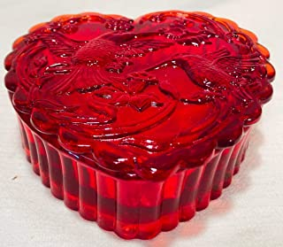 Heart Box - Covered Candy Dish - Red Glass - Mosser USA (Hummingbirds)