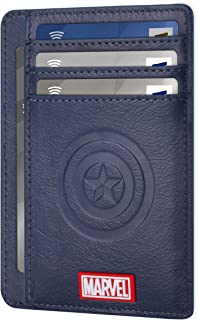 MARVEL Avengers Genuine Leather Wallet, Slim Minimalist Leather Front Pocket RFID Blocking Wallets for Men Women