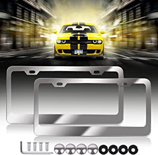 The Bottle of Stainless Steel License Plate Frame Car Licence Plate Covers 2 PCS 2 Holes Silver with Bolts Washer Caps for US Standard