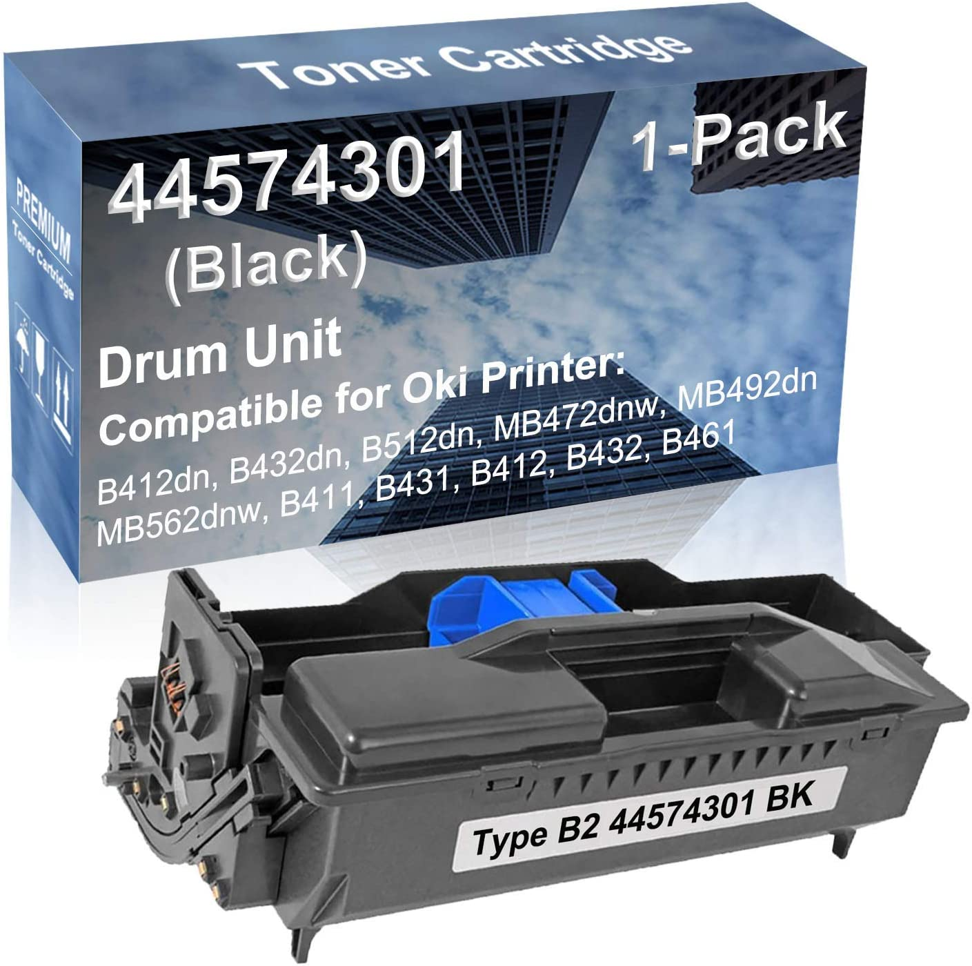 1-Pack Compatible Drum Unit (Black) Replacement for Oki Type B2 44574301 Drum Kit use for Oki B412, B432, B461 Printer