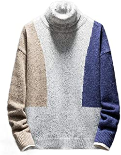 Howely Men's Baggy Premium Round Neck Knitting Pullover Patchwork Sweaters