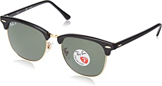 RB3016F Clubmaster Square Asian Fit Sunglasses, Black/Polarized Green, 55 mm