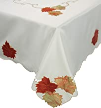 Xia Home Fashions Scrolling Leaf Embroidered Cutwork Harvest 70-Inch by 90-Inch Fall Tablecloth