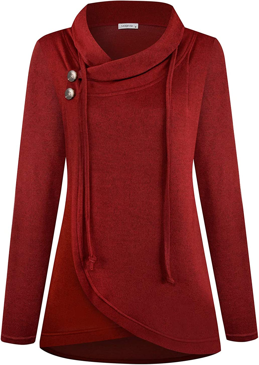 MOQIVGI Womens Long Sleeve Draped Cardigans with Buttons Lightweight Shawl Collar Open Front Sweater Jackets