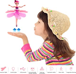 Leadfan Flying Fairy Doll for Girls Toy Hand Operated RC Infrared Sensor Control Child Toy Teen Toys Flying Princess Doll for Age 4+ Pink