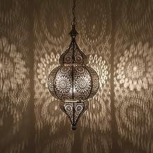 Casa Moro Orientalna lampa Melisa srebrna wys. 54 cm z oprawką E27 z łańcuchem i baldachimem   Przepiękna lampa wisząca sr...