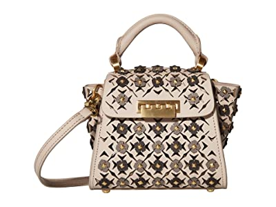 ZAC Zac Posen Eartha Mini Top-Handle Floral Applique (Mushroom) Handbags