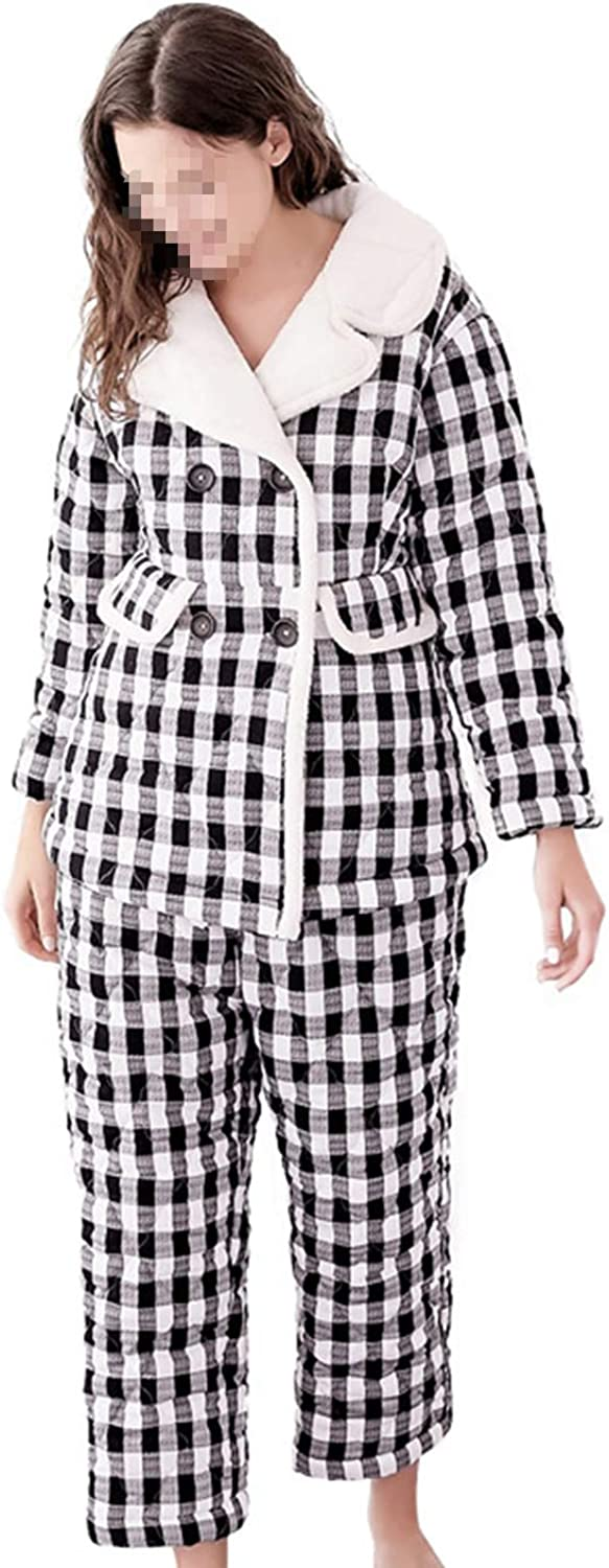 Cotton Ladies' Pajamas TwoPiece Suit Black and White Plaid Thicken Keep Warm Long Sleeve Pants Winter