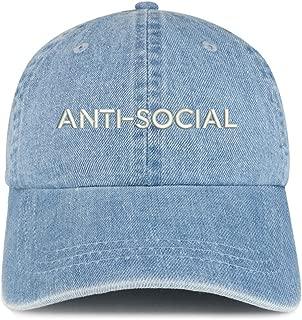 Trendy Apparel Shop Anti Social Embroidered 100% Cotton Denim Cap Dad Hat