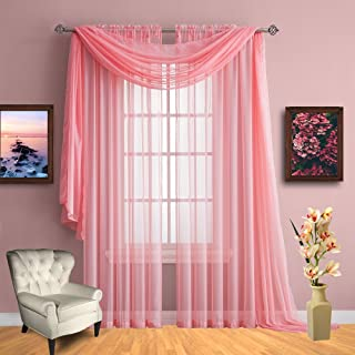 Infinite Home Beauty Sheer Window Curtains. Two Panels of Beautiful Drapes. Great for Any Room in The House. Kitchen, Living, Bedroom or Office. (Pink Rose, 1 Scarf: 56