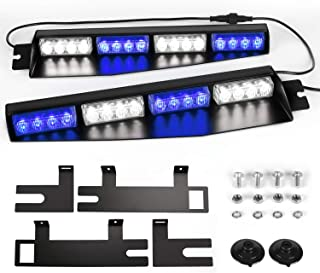ASPL 32LED Visor Lights 26 Flash Patterns Windshield Emergency Hazard Warning Strobe Beacon Split Mount Deck Dash Lamp With Extend Bracket (Blue/White/Blue/White)