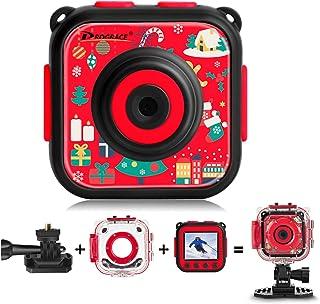 DROGRACE Cámara de acción para niños Impermeable 1080P Videocámara para niños y niñas con Pantalla LCD de 15 y Zoom Digital [Edición Navideña]