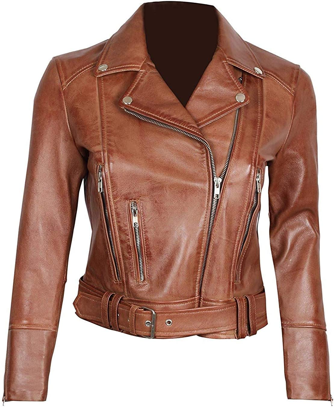Womens Leather Motorcycle Jacket - Real Lambskin Short Jackets For Women