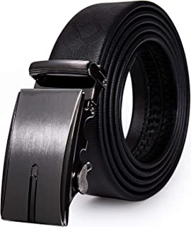 Black Belt for Men,DiBanGu Designer Business Sliding Automatic Buckle Genuine Leather Belt Strap for Mens Gifts