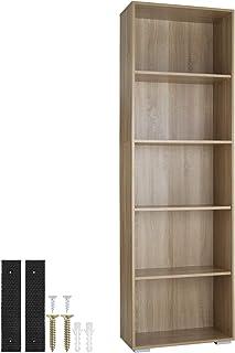 TecTake 800842 Bibliothèque avec 5 Étagères en Bois MDF Meuble de Rangement pour Salon, Bureau, Chambre, Cuisine – Diverse...