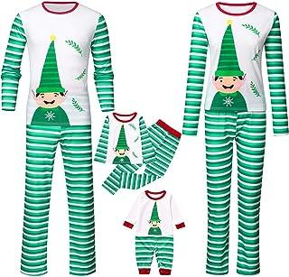 K-Youth Ropa para Padres e Hijos Pijamas de Navidad Familiar Conjuntos Bebe Niño Navidad Mameluco Bebé Niña Ropa Mujer Hom...