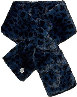 Ted Baker Women's Leonnaa Faux Fur Leopard Print Scarf Blue