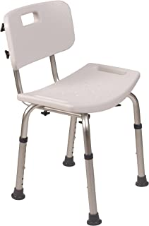 DMI Compact Lightweight Germ-Free Bath and Shower Chair Bench Stool with Backrest, Adjustable Height, Tool-Free Assembly, White