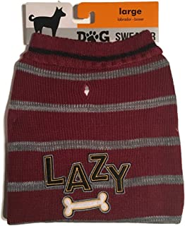 The Cayre Group Dog Sweater-Lazy Bone,Burgundy with Gray Stripes