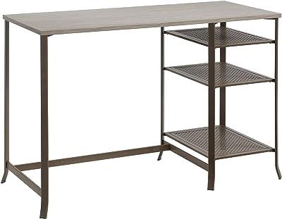 "Sauder Center City Pedestal Desk, L: 46.93"" x W: 20.79"" x H: 30.00"", Champagne Oak"