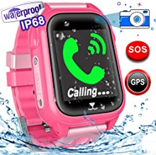 Kids Smart Watch - Waterproof Kids Watch Phone with GPS Tracker HD Touchscreen with SOS Two Way Call Flashlight Alarm Clock Class Forbidden Camera Control Weather Forecast School Supplies Gifts