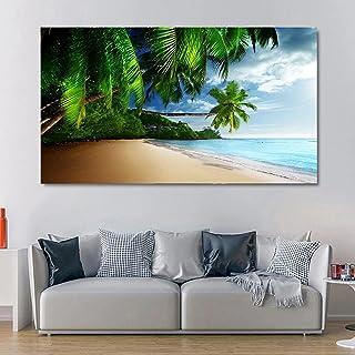 SIA VENDORS™ Slanting Palm Coconut Trees On Beach Wall Poster Canvas Print Oil Painting Poster Art Print Modern Home II Li...
