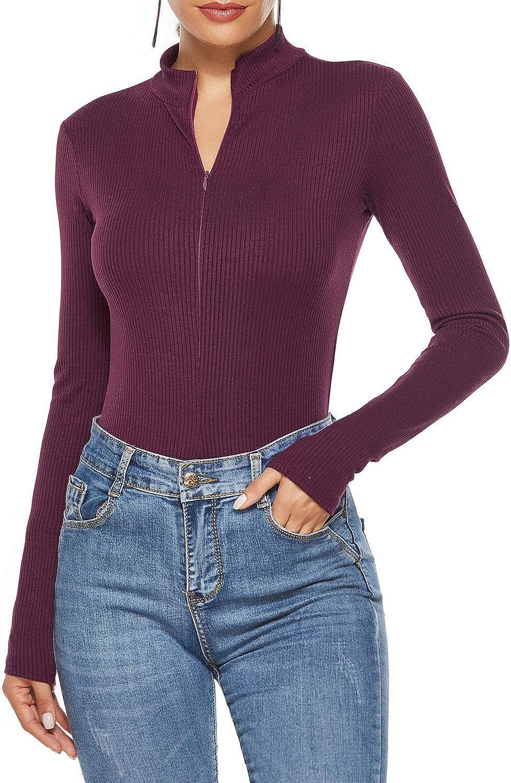 TOPMELON Women Long Sleeved Turtleneck Knitted Bodysuit Tops Deep-v Neck Zipper Bodycon Jumpsuit Body Suits
