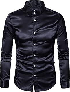 Cottory Men's Night Club Style Satin Weave Pure Color Button Down Shirts