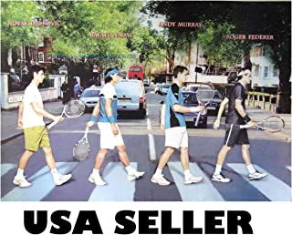 Tennis Top 4 POSTER 34 x 23.5 Roger Federer Andy Murray Rafael Nadal Novak Djokovic Abbey Road cover takeoff GREAT GIFT (poster sent FROM USA in PVC pipe)