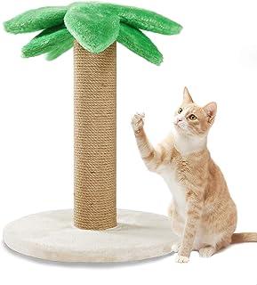 LUCKITTY小さな猫のスクラッチポストキティココナッツツリー猫スクラッチポストキティと子猫用-ぬいぐるみとサイザルスクラッチポール猫スクラッチャー45cm