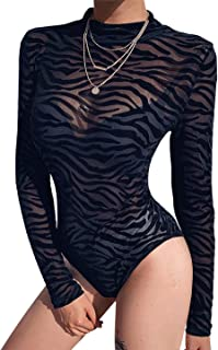 MAXIMGR Women Sexy Sheer Mesh Leotard Bodysuit Jumpsuit Tops Floral Long Sleeve See Though Bodysuits Jumpsuits
