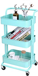 3-Tier Metal Mesh Storage Utility Cart with Brake Caster Wheels, Rolling Cart with Utility Handle, Turquoise