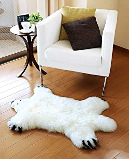 OKAYDA Novelty Cute Bear Design Area Rug Natural Premium Australia Sheepskin Rug Super Soft Lambskin Decorative Rug for Ba...