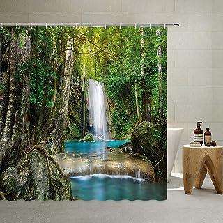 QYVLHD Waterfall Shower Curtain Tropical Rainforest Green Plants Dense Bushes Scenic Natural Wild National Jungle Wood Par...