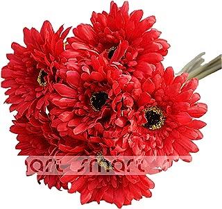 10 PCS Artificial Silk African Chrysanthemum Plant Flower Bouquet Big Daisy Chrysanthemum Sunflowers Wedding Party Decor Home 12