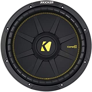 Kicker 44CWCD124 12 Inch CompC 300 Watt 4 Ohm Single Voice Coil SVC Subwoofer Factory Replacement Car Audio Sound System Bass w/ Ribbed Foam Surround