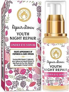 Mom & World Repair + Renew Youth Night Repair Under Eye Serum, With Vitamin C, Caffeine, Hyaluronic Acid for Under Eye Ski...