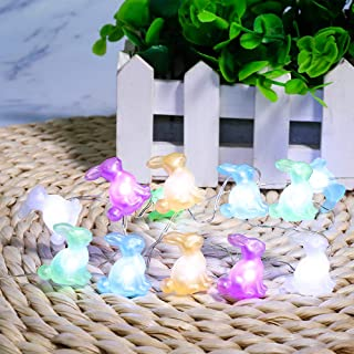 Easter Decorations, Bunny String Lights Battery Operated 10 Ft 40 LED Rabbit Waterproof Fairy Lights for Easter Eggs Hunt ...