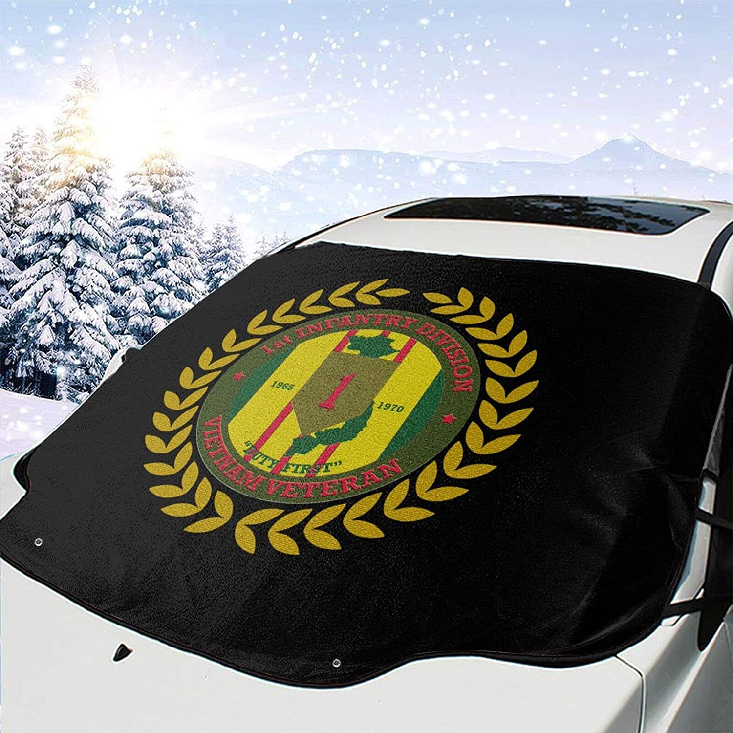 Vietnam Veteran 1st Infantry Finally popular brand Division Cover Snow A surprise price is realized Ice Windshield