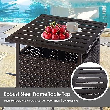 Giantex Patio Rattan Wicker Umbrella Side Table Stand with Umbrella Hole Steel Outdoor Deck Garden Pool Umbrella Side Table,