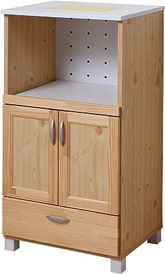 大川家具 アビライト 日本製 天然木 レンジワゴン 幅60 イエローパイン キッチン収納シリーズ MN0011