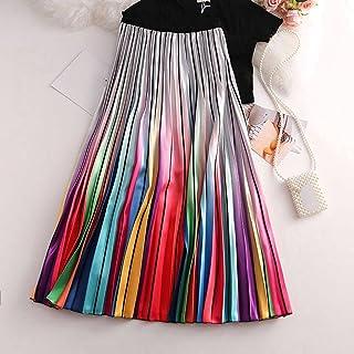ZJMIYJ Kjolar för kvinnor – lutande regnbågstryck kjol dam hög midja veckad satin midikjolar dammode vår höstkläder för da...