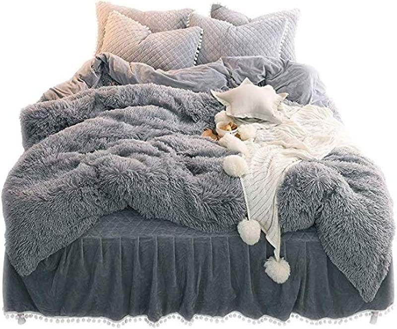 Lotus Karen 3 Piece Shaggy Duvet Cover Set 1Duvet Cover 2Pillowcases Ultra Soft Plush Fuzzy Flannel Velvet Bed Cover Set