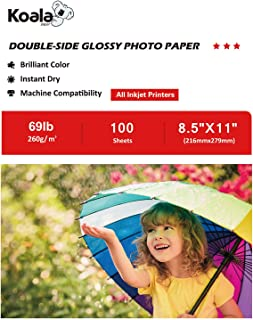 Koala Photo Paper 8.5x11 Inches Heavyweight Double Sided High Glossy 100 Sheets 260gsm only Compatible with Inkjet Printer