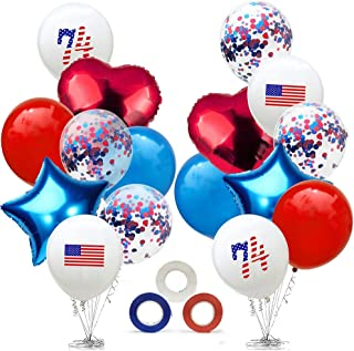 CheeseandU 4th of July Decorations, American Independence Day Balloons Set USA Flag Latex Balloons+Blue Red Confetti Balloons+18
