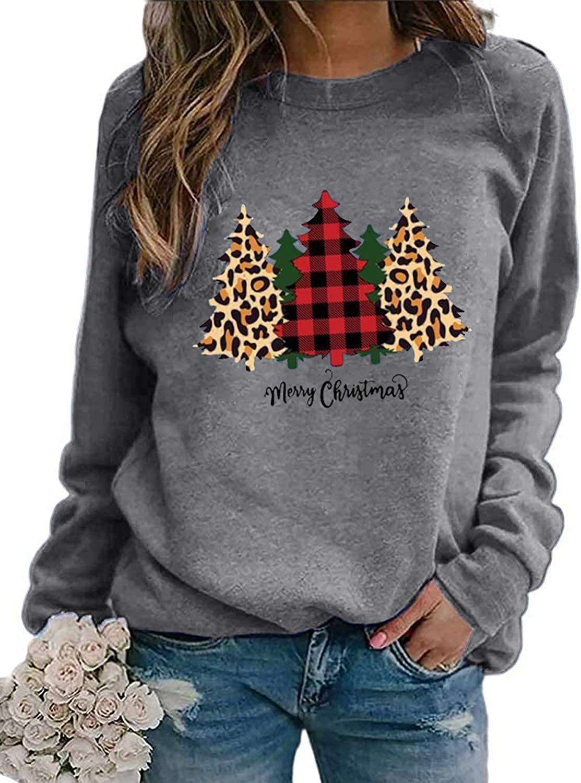 LAMISSCHE Womens Christmas Tree Long Sleeve Sweatshirt Crewneck Graphic Casual Shirt Plaid Leopard Cute Blouse Top
