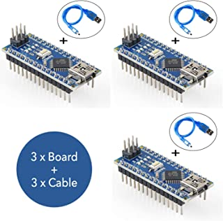 RoboGets Arduino Nano v3 Compatible Microcontroller Develpment Card for Robotic and Electronic, Chip Programming + USB Cable