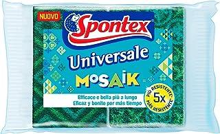 Spontex - Mosaik Universale, 2 Estropajos de Poliuretano, Fibra Verde Decorada, Resistente al Desgaste