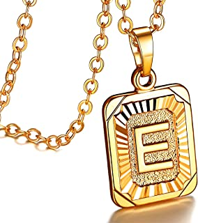 26 A-Z English Capital Small Embossed Hexagon Square Heart Pendant 18K Gold/Platinum Plated Fashion Letter Initial Necklace for Women Girls, 16